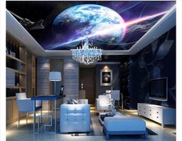 wallpapers for rooms Australia - Customized 3D Zenith Photo Ceiling Background Mural Fantasy Galaxy Starry Planet Ceiling Living Room TV Zenith Mural Wallpaper for walls 3d