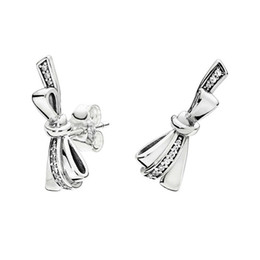 4142f0f98 Authentic 925 Sterling Silver bowknot Earrings set Original box for Pandora  CZ Diamond Bow Stud Earring for Women