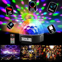 magic ball disco mp3 Canada - Hot Disco 9 colors DJ Lights bluetooth MP3 DJ Stage Lighting RGB Crystal Magic Ball MP3 USB Light LED Party light with remote