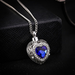 Keepsake Christmas Gifts NZ - Newest Silver Urn Cremation Heart Blue Pendant Ash Holder Mini Keepsake Long Memorial Necklace Nice Gift