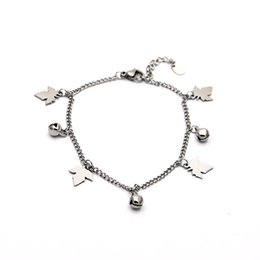 small leaf charms wholesale 2019 - Sweet Women Bracelets Silver Small Bell leaf Shape Stainless Steel Bracelet Jewelry For Women Br05171 discount small lea