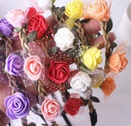 elastic plastic hairbands NZ - Fashion Rose Flower Headband Headwear Women Girl Elastic Hairbands Korean Floral Hair Bands Hair Accessories Headdress