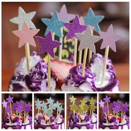 Decorating Cupcakes Australia - 40Pcs Five Star Cupcake Cake Topper DIY Wedding Cake Stick Picks Dessert Cream Decorating Tools Kids Birthday Party Favors 8Z 40Pcs Five
