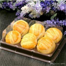 $enCountryForm.capitalKeyWord Australia - Disposable Dessert Box Transparent Six Girds Black Color Plastic West Point Cheese Cupcake Boxes Gift Wrap Festive Supplies 0 39bgE1