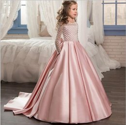 Kids girls long evening gowns online shopping - 1pcs Girls Floor Length Wedding Dress Kids Girls chest binders Long sleeve Big bowknot Trailing Princess Evening Prom Party Dresses