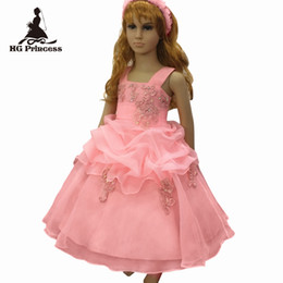 girls peach ball gowns UK - Free shipping 2019 New Style Child Ball Gown With Lace Appliques Peach Flower Girl Dresses For Weddings Kids Party Dress Organza