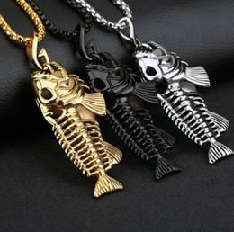 $enCountryForm.capitalKeyWord Australia - New Big Fish Bone Pendant Necklaces with Fishing Hook Stainless Steel Gold Black Gun Plated Men Punk Biker Jewelry Perfect Gifts DHL