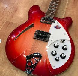 Venta al por mayor de Modelo raro 360 Cuerpo semi hueco 12 cuerdas Guitarra eléctrica RIC 12V69 Cherry Red Electric China Hecho Signo Guitarras