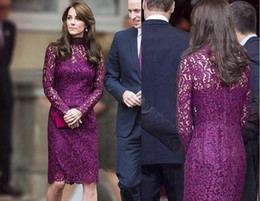 spring wear for elegant women Canada - Kate Middleton Short Evening Dresses for Women Wear with Elegant Knee Length Sheath Lace Long Sleeve Purple Cocktail Prom Celebrity Gowns