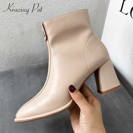 $enCountryForm.capitalKeyWord Australia - krazing pot basic clothing microfiber soft leather metal fasteners zipper thick high heels round toe keep warm ankle boots l53