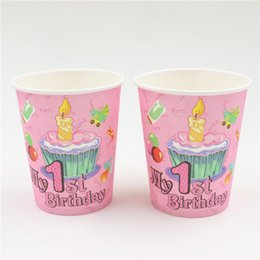 paper cup party supplies NZ - Wholesale- 10pcs\lot Party Decoration Cartoon Paper Glass Baby Shower Kids Favors Happy 1 st Birthday Cups Events Supplies Tableware