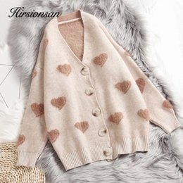 women s sweater hearts NZ - Hirsionsan Cashmere Sweater Women Autumn Winter 2019 Knitted Cardigans Kawaii Heart Loose Clothes Oversized Warm Pull Femme Y190829