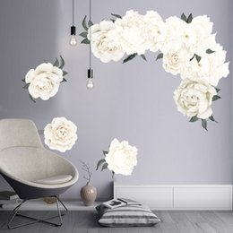 Elegant Decor Living Rooms Australia - White Peony Wall Sticker DIY Elegant Flowers Wall Art Decal for Living Room Kids Room Decor Peel and Sticker Poster Peonies Wallpaper