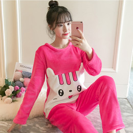 Wholesale womens pjs resale online - Flannel Pajamas for Women New Cute Warm Womens Tops and Blouses Thicken Winter Full Length Young Girl Pjs Set Sleep Wear