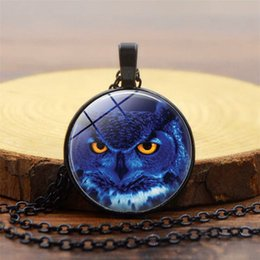 Blue Gemstone Pendant Wholesale Australia - New animal pattern accessories Blue owl time gemstone necklace European and American popular pendant necklace necklace jewelry