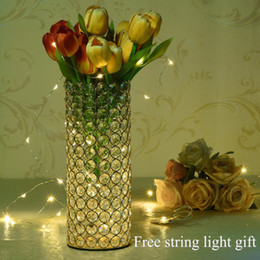 $enCountryForm.capitalKeyWord Australia - Crystal Cylinder Glass Vases With Sting Light For Home Father's Day Centerpieces Decorations Birthday Anniversary Gifts Y19061804