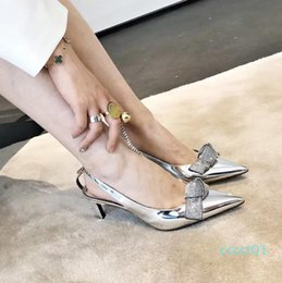 designer crystals Australia - bridal wedding shoes metal patent leather with crystal bowtie kitten heels designer shoes pumps silver gold 6cm size 34 to 40
