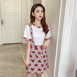 Discount o shape - Aihuyigui 2019 summer new arrival love o neck patckwork short sleeve t shirts + Heart-shaped Print Plaid straps skirt su