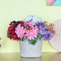 silk flowers vase decoration Australia - Handmade Vase Artificial Simulation Fake Flower Silk And Plastic Flower Home Garden Wedding Decoration Artificial Plastic Plants