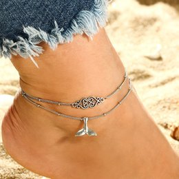 Flower anklets online shopping - Boho Style Fish Tail Anklet Antique Silver Carved Flower Multilayer Foot Chain Ankle Bracelet for Women Beach Summer Fashio