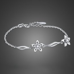 $enCountryForm.capitalKeyWord Australia - Noble girl silver jewelry 925 sterling silver bracelet zircon flower pendant solid silver bracelet girl chic accessories bijoux