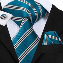 Woven Silk Ties Cufflinks Australia - Hi-Tie Designer Brand Necktie For Men 100% Silk Jacquard Woven New Fashion Style Mems Striped Ties Hanky Cufflinks Set C-3025