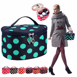 $enCountryForm.capitalKeyWord Australia - Korean Style Cosmetic Makeup Bag Dot Love Shape Print Wash Bags Barrel Shaped Travel Make Up Bag Organizer Large Capacity Storage Pouch Bag