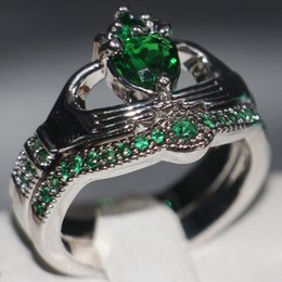 Emerald Gemstones Rings Australia - Claddagh Fashion Jewelry chouchong Unique Desgin 10KT White Gold Filled Heart Shape Emerald Gemstones CZ Diamond Women Wedding Couple Ring