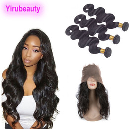 360 Lace Frontal With Bundles Indian Human Hair Natural Color Body Wave 8-28inch Bundles With Lace Frontal Closure on Sale