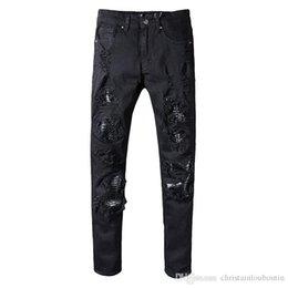 Pantalon de designer de vêtements en gros Aquaman mens slim biker droite jeans skinny hommes femmes déchiré jeans échelle de poisson en Solde