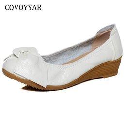 $enCountryForm.capitalKeyWord Australia - Dress Covoyyar 2019 Bowtie Women Pumps Spring Summer Comfort Genuine Leather Wedges High Heels Slip On Round Toe Casual Shoes Whh623