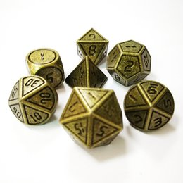 Metal Dice Australia - Table travel color metal multi-sided dice seven pieces of a set of casual entertainment game dice set manufacturers custom