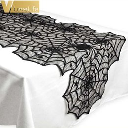 easter table runners Australia - Polyester 18X72inch Halloween Spider Web Table Runner Black Lace Tablecloth Halloween Table Decor Festival Party Supplies Easter