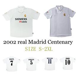 09bb73ea2b6 2001 2002 2003 real Madrid Centenary home soccer jersey ZIDANE FIGO HIERRO  RONALDO RAUL classic retro football shirt vintage jersey
