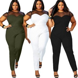 plus size sexy lace club jumpsuits UK - Plus Size L-4XL Women Jumpsuit 2019 Short Sleeve Mesh Lace Patchwork Rompers Large Size Sexy Club party Long Pant Black Overalls FP3009