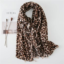 leopard print cotton scarves NZ - Leopard Print Printing All Sides Hang To Cotton Scarf Temperament Joker Sunscreen Sandy Beach A Piece Of Cloth Sunscreen Will Shawl Ma'am