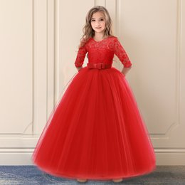 summer long dresses for teens NZ - My Princess Fancy Kids Bridesmaid Long Lace Girls Dress For Wedding Pageant Party Communion Teen Girl Clothes Formal Dresses XF85
