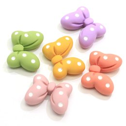 jewelry making supplies Australia - High Quality Colorful Flatback Polka Dot Hairbow Cabochons Resin Polka Dot Bow Bowknot Cabs Slime Charms Jewelry Making Supplies
