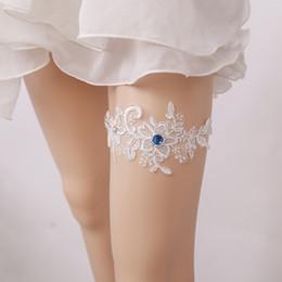 746ed6bfab2 New Hot Wedding Garter Blue Rhinestone White Embroidery Floral Sexy Garters  for Women Female Bride