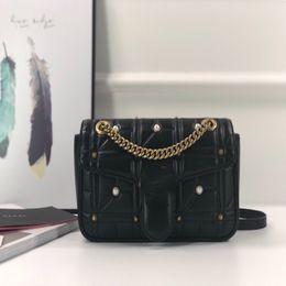 $enCountryForm.capitalKeyWord Australia - Famous Designer Luxury Bags Black Pearl Chains Letter Sequined Diamond Lattice Thread Genuine Leather Crossbody Handbags