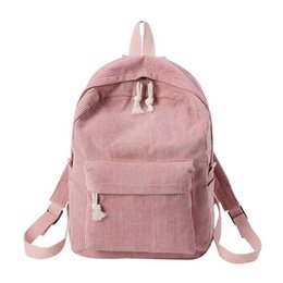 $enCountryForm.capitalKeyWord UK - Preppy Style Soft Fabric Backpack Female Corduroy Design School Backpack For Teenage Girls Striped Women #160373