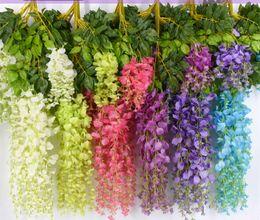 $enCountryForm.capitalKeyWord Australia - 7 Colors 12pcs a pack Elegant Artificial Silk Flower Decors Wisteria Flowers Vine Rattan For Garden Home Wedding Decoration Supplies 110cm
