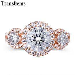 Wedding Ring Types Australia - Transgems Halo Three Stone Moissanite Engagement Ring 18k Rose Gold 3 Stone Type Halo Ring For Women Fine Jewelry Wedding Gift Y19032201