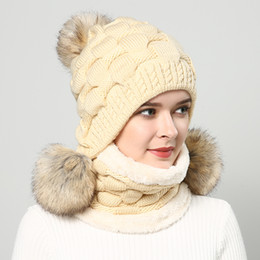 Green Pompom Hats Australia - winter hats for women hat pompom fashion Berets Women's gorros fur hats knitted beanies Thicker hat with flaps cap scarf earflap D19011503