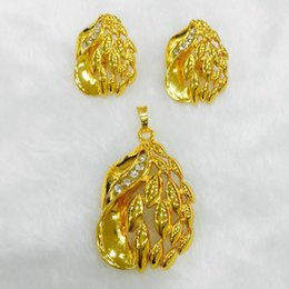 Western earrings necklace sets online shopping - Yulaili Fashion CZ Crystal Elegant Leaves Pendant Necklace Earrings Dubai Gold Jewelry Sets For Western Women Bachelor Party