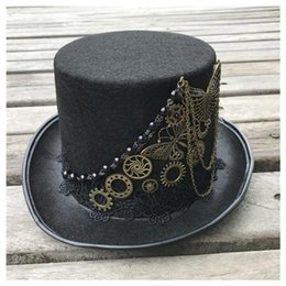 handmade hats for men UK - 2020 High-end Handmade Steampunk Top Hat With Metal Gear For Men Women Magic Hat Bowler Size 57CM