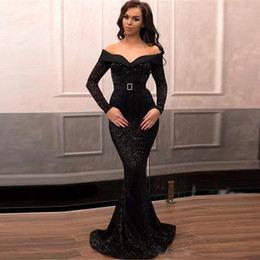 evening gown belt sashes Australia - Off Shoulder Long Sleeve Black Evening Dresses Sequined With Belt Prom Dress Mermaid Sweep Train Vestidos De Festa Prom Gowns