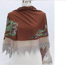 drop ship apparel UK - Free Shipping Drop Shopping Jersey Chiffon Lace Women's Cape Shawl Wraps Tippet Scarf Colors Fashion Apparel Retail wholesale Embroidery