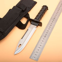 Wholesale Tactical Gear Australia - High Sharp Fixed Blade Knife Alloy Handle 440C Stainless Steel Knife Hunting Knife Black Combat Knives Nylon Sheath Tactical Survival Gear