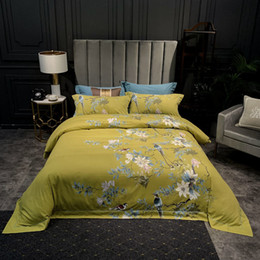 King brushes online shopping - Chinoiserie Blossom Tree Branches Birds Duvet Cover Set Brushed Cotton Warm Bedding set Soft Flat Bed sheet Queen King size cs